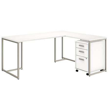 "kathy ireland® Office by Bush Business Furniture Method 72""W L Shaped Desk with 30""W Return and Mobile File Cabinet, White, Premium Installation"