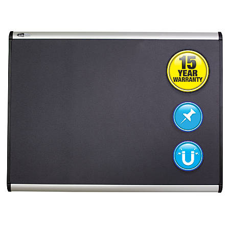 "Quartet® Prestige Plus® Magnetic Fabric Bulletin Board, Aluminum Frame, 36"" x 24"""
