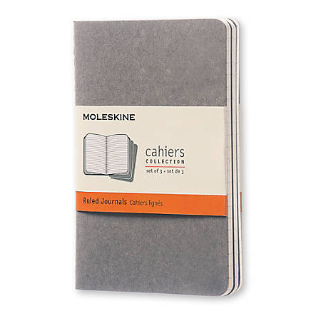 "Moleskine Cahier Journals, 3-1/2"" x 5-1/2"", Faint Ruled, 64 Pages (32 Sheets), Pebble Gray, Set Of 3 Journals"