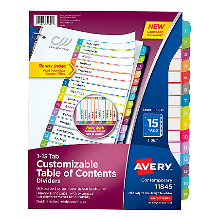 """Avery® Ready Index® Table Of Contents Dividers, 8 1/2"""" x 11"""", White/Multicolor, Pack Of 15"""