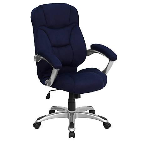 Flash Furniture Microfiber High-Back Chair, Blue/Black/Titanium