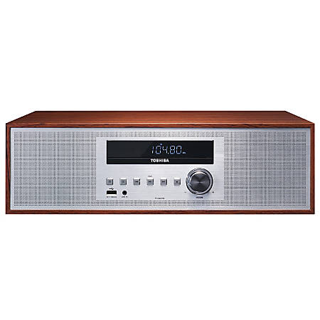 """Toshiba All-in-One Bluetooth® Vintage Micro Component System, 16""""H x 4.7""""W x 10.7""""D, Wood"""