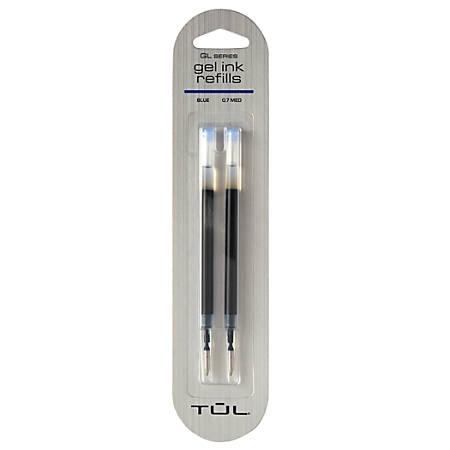 TUL® Gel Pen Refills, Medium Point, 0.7 mm, Blue Ink, Pack Of 2 Refills