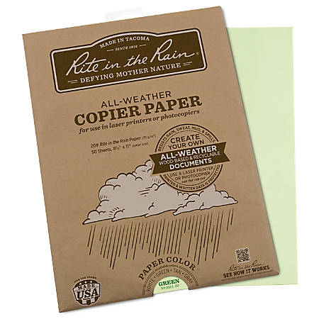 """Rite in the Rain® All-Weather Printer Paper, Letter Size (8 1/2"""" x 11""""), 20 Lb, Green, 50 Sheets"""