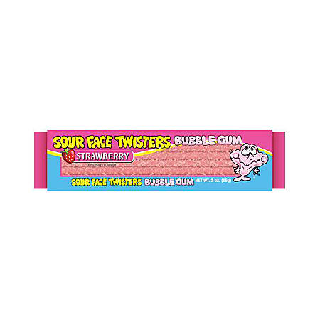 Sour Face Bubble Gum Straws, Strawberry, 2 Oz