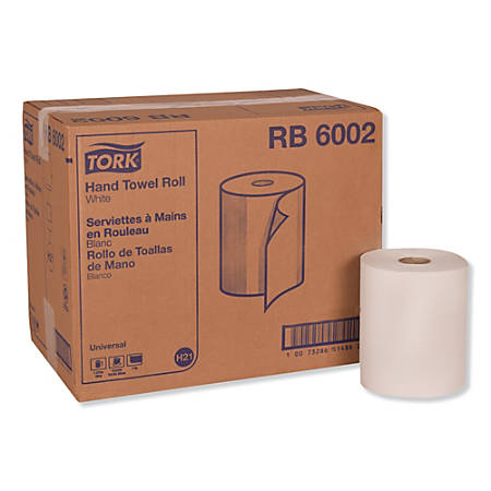 "Tork® Universal Hand Towel Rolls, 7-7/8"" x 600', White, 600 Sheets Per Roll, Pack Of 12 Rolls"