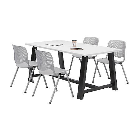 KFI Studios Midtown Table With 4 Stacking Chairs, Designer White/Light Gray