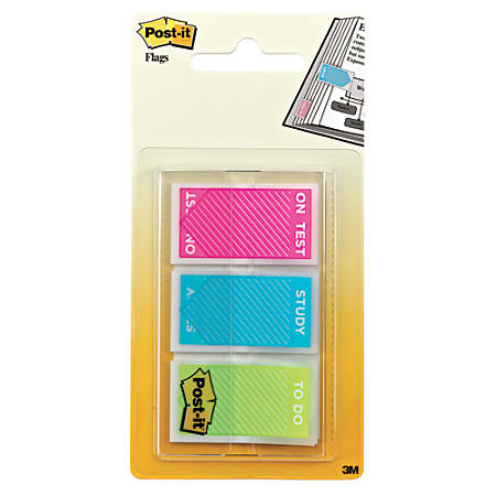 """Post it® Message Flags, Study Set, 1"""" x 1 7/10"""", Assorted Colors, 20 Flags Per Pad, Pack Of 60 Flags"""