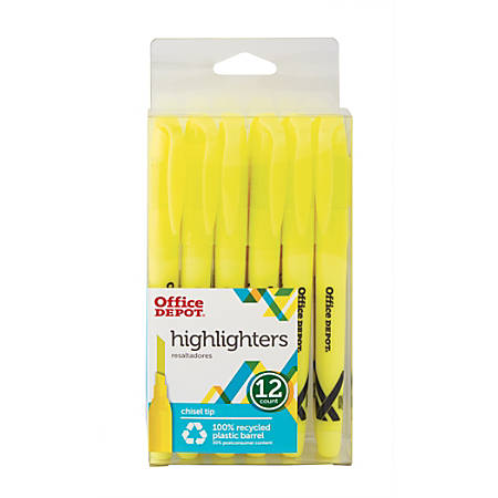 Office Depot® Brand 100% Recycled Pen-Style Highlighters, Yellow, Pack Of 12