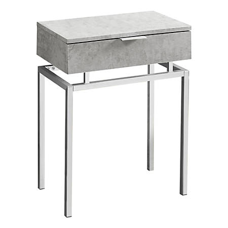 Monarch Specialties Accent Table, Rectangular, Gray Cement/Chrome