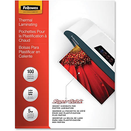 "Fellowes® SuperQuick Laminating Pouches, Glossy, 8.5"" x 11"", 5 Mil, Clear, Pack Of 100"