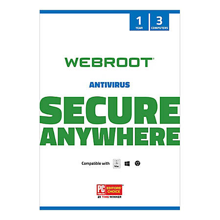 Webroot® Internet Security With Antivirus Protection 2020, For 3 PC And Apple® Mac® Devices, 1-Year Subscription, Traditional Disc