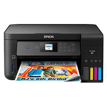 Epson® Expression ET-2750 EcoTank Wireless Color Inkjet All-In-One Printer,  Copier, Scanner, C11CG22201 Item # 470153