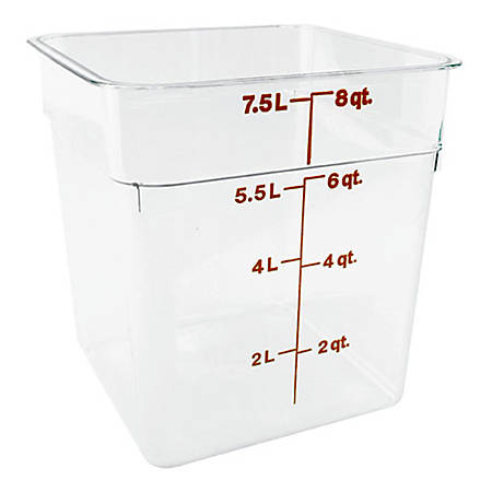 """Cambro Food Storage Container, 9""""H x 8 3/4""""W x 8 3/4""""D, 8 Qt, Clear"""