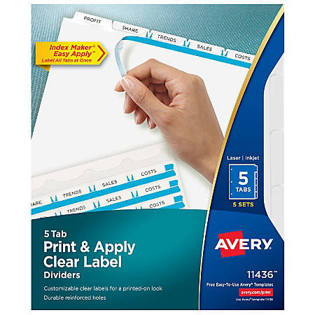 Avery® Print & Apply Clear Label Dividers With Index Maker® Easy Apply™ Printable Label Strip And White Tabs, 5-Tab, Box Of 5 Sets