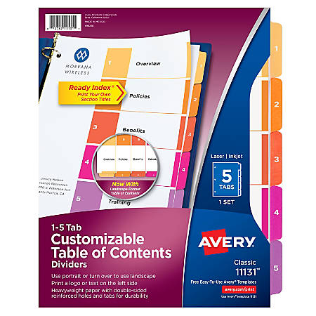 Avery® Ready Index® 20% Recycled Table Of Contents Dividers, 1-5 Tab, Multicolor