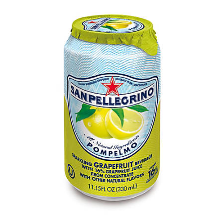 SANPELLEGRINO® Italian Sparkling Fruit Beverage, 11.15 Oz, Pompelmo (Grapefruit), Pack Of 12