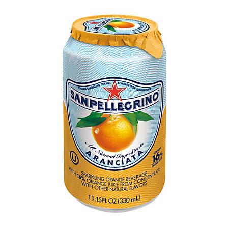 SANPELLEGRINO® Italian Sparkling Fruit Beverage, 11.15 Oz, Aranciata (Orange), Pack Of 12