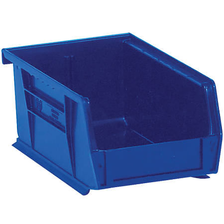 "Office Depot® Brand Plastic Stack And Hang Bin Boxes, 7 3/8"" x 4 1/8"" x 3"", Blue, Pack Of 24"