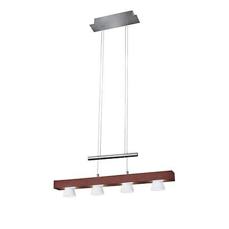 "Adesso® Burlington Hanging Adjustable Pendant Lamp, 4-Light, 69""H, Frosted Shade/Walnut Base"