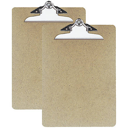 "OIC® 100% Recycled Hardboard Clipboards, Letter Size, 9"" x 12 1/2"", Brown, Pack Of 2"