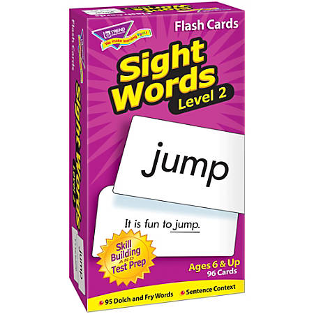 "TREND Sight Words Skill Drill Flash Cards, Level 2, 6"" x 3"", Grades 1-2, Pack Of 96"