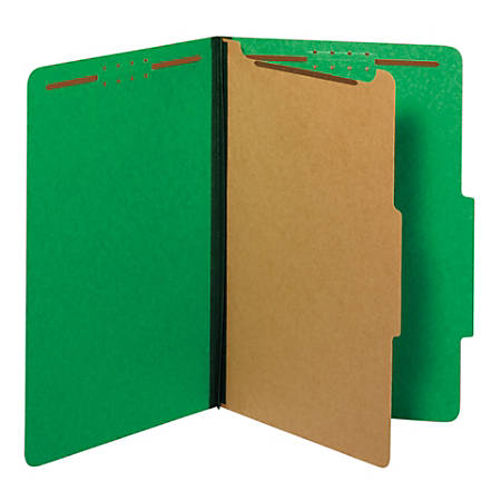 "Pendaflex® Pressboard Classification Folders With Fasteners, 1 3/4"" Expansion, Legal Size, Dark Green, Box Of 10 Folders"