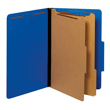 "Pendaflex® Pressboard Classification Folders With Fasteners, 2 1/2"" Expansion, Legal Size, Dark Blue, Box Of 10 Folders"