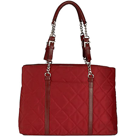 "WIB Metro Carrying Case (Tote) for 17"" Notebook - Scarlet Red - Nylon, Leather, Ethylene Vinyl Acetate (EVA) Interior - Quilted - Carrying Strap - 12.3"" Height x 15"" Width x 6"" Depth"