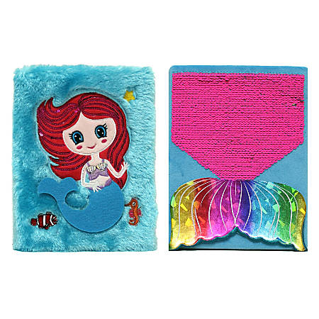 Inkology Plush Journals, A5 Size, Wide Ruled, 256 Pages (128 Sheets), Mermaid, Pack Of 6 Journals