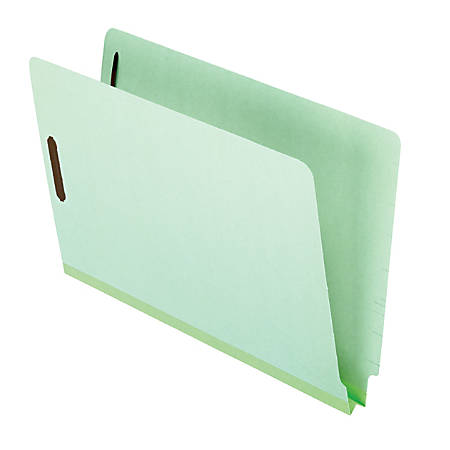 """Pendaflex® Pressboard End-Tab Expansion Folders With Fasteners, 1"""" Expansion, 8 1/2"""" x 14"""", 10% Recycled, Light Green, Pack Of 25 Folders"""