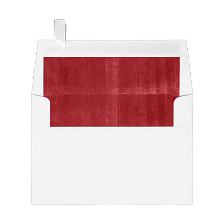 "LUX Foil-Lined Invitation Envelopes With Peel & Press Closure, A4, 4 1/4"" x 6 1/4"", White/Red, Pack Of 250"