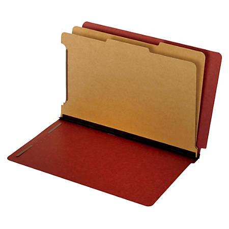 "Pendaflex® Pressboard End-Tab Classification Folders, 2 1/2"" Expansion, Legal Size, Red, Box Of 10 Folders"