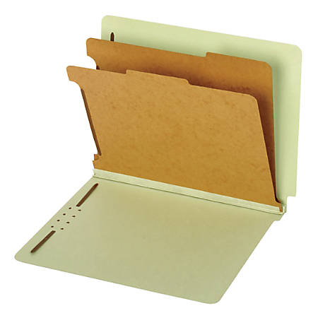 "Pendaflex® End-Tab Classification Folders, 2 1/2"" Expansion, 8 1/2"" x 11"", 2 Dividers, Light Green, Box Of 10 Folders"