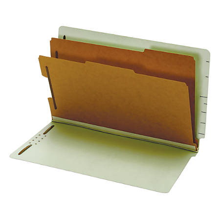 "Pendaflex® End Tab Classification Folder, 2 1/2"" Expansion, 8 1/2"" x 14"", 2 Dividers, Light Green, Box Of 10"