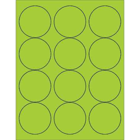 "Office Depot® Brand Labels, LL194GN, Circle, 2 1/2"", Fluorescent Green, Case Of 1,200"
