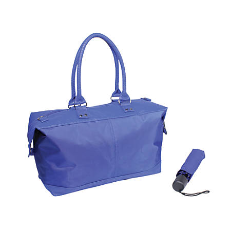 Nylon Tote And Umbrella Set, Blue