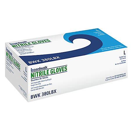 Boardwalk Disposable Nitrile General-Purpose Gloves, Large, Blue, Box Of 100 Gloves