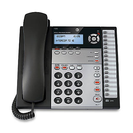AT&T 1040 4-Line Corded Expandable Speakerphone, Charcoal