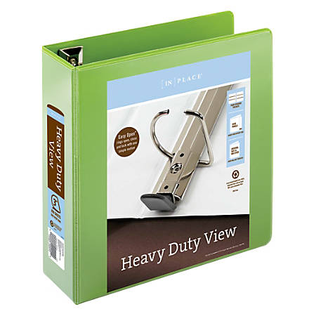 """Office Depot® Brand Heavy-Duty Easy Open® D-Ring View Binder, 3"""" Rings, 59% Recycled, Army Green"""