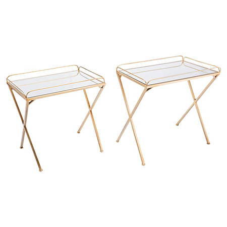 Zuo Modern Opposite Tray Tables, Rectangular, Mirror/Gold, Set Of 2 Tables