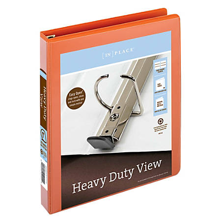 """Office Depot® Brand Heavy-Duty Easy Open® D-Ring View Binder, 1"""" Rings, 60% Recycled, Orange"""