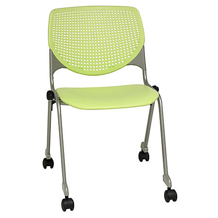 KFI Studios KOOL Stacking Chair With Casters, Lime Green/Silver
