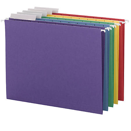 Smead Hanging File Folders With Adjustable Tabs, Letter Size, 1/3 Cut, Assorted Colors, Box Of 25