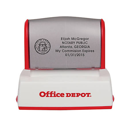 """Office Depot® Brand Pre-Inked Notary Stamp, 1 1/2"""" x 2 7/16"""" Impression"""