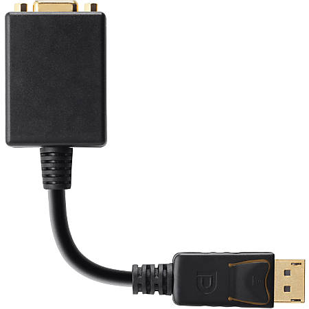 """Belkin Displayport to VGA Adapter - 6"""" DisplayPort/VGA Video Cable for Video Device, Monitor, Projector, TV, HDTV - First End: 1 x DisplayPort Male Digital Audio/Video - Second End: 1 x HD-15 Female VGA - Black"""