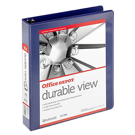 "Office Depot® Brand Durable D-Ring View Binder, 1 1/2"" Rings, 60% Recycled, Blue"