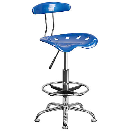 Flash Furniture Vibrant Drafting Stool, Bright Blue/Chrome