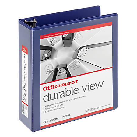 "Office Depot® Brand Durable D-Ring View Binder, 3"" Rings, 60% Recycled, Blue"