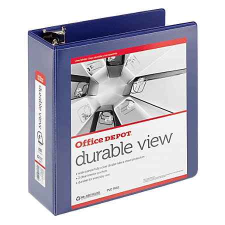 "Office Depot® Brand Durable D-Ring View Binder, 4"" Rings, 60% Recycled, Blue"